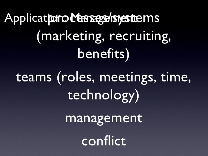 Application: Management processes/systems (marketing, recruiting, benefits) teams (roles, meetings, time, technology) mana...