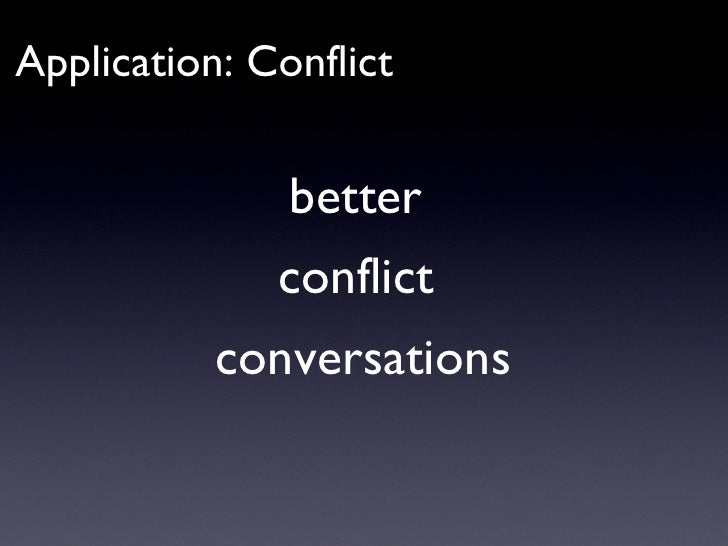 Application: Conflict better  conflict  conversations