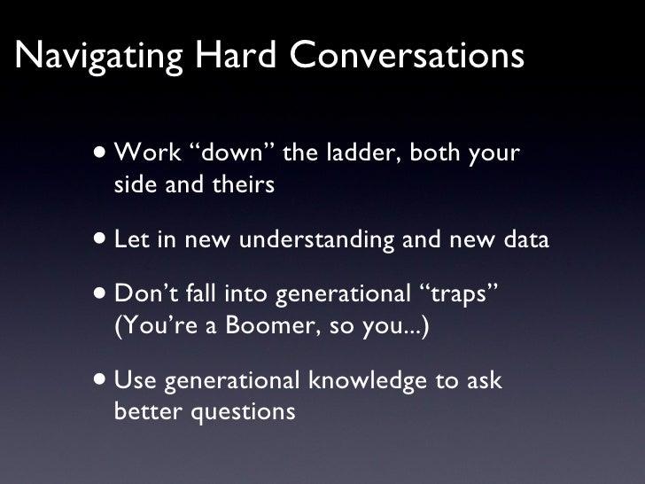 "<ul><li>Work ""down"" the ladder, both your side and theirs </li></ul><ul><li>Let in new understanding and new data </li></u..."