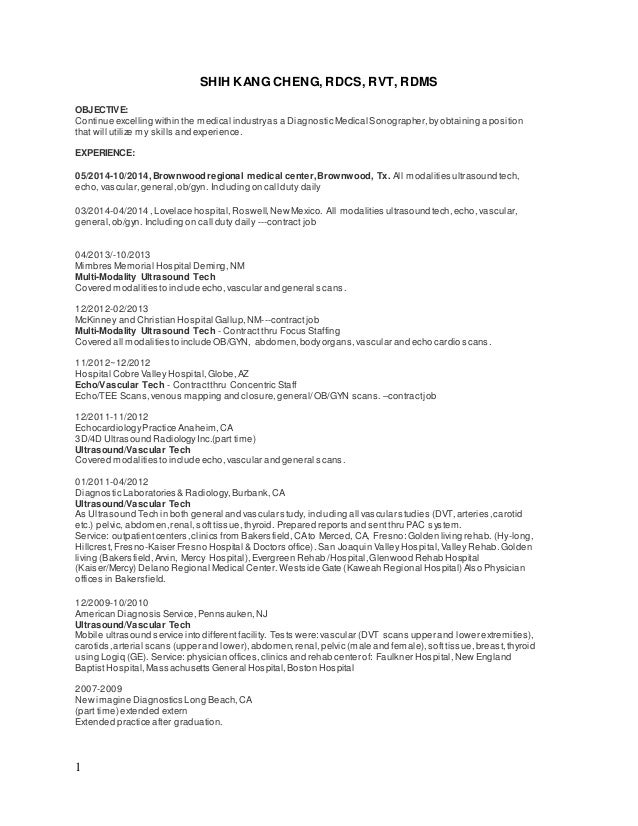Diagnostic Medical Sonographer Resumes  Ultrasound Tech Resume