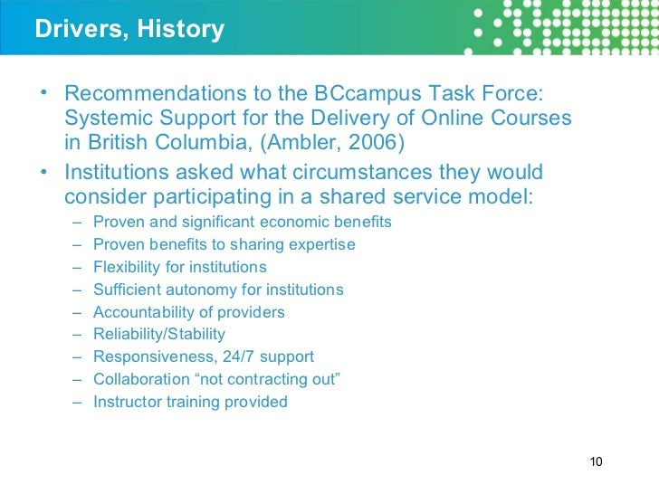Drivers, History <ul><li>Recommendations to the BCcampus Task Force: Systemic Support for the Delivery of Online Courses i...