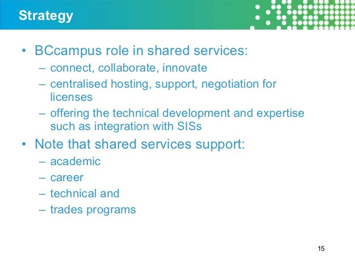 Strategy <ul><li>BCcampus role in shared services: </li></ul><ul><ul><li>connect, collaborate, innovate </li></ul></ul><ul...