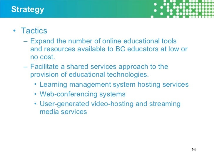 Strategy <ul><li>Tactics </li></ul><ul><ul><li>Expand the number of online educational tools and resources available to BC...