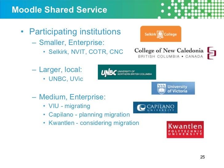Moodle Shared Service <ul><li>Participating institutions </li></ul><ul><ul><li>Smaller, Enterprise:  </li></ul></ul><ul><u...