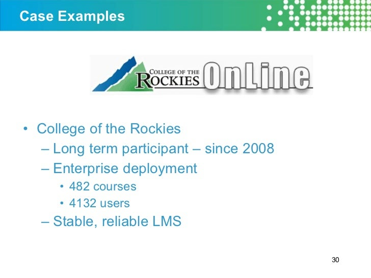 Case Examples <ul><li>College of the Rockies </li></ul><ul><ul><li>Long term participant – since 2008 </li></ul></ul><ul><...