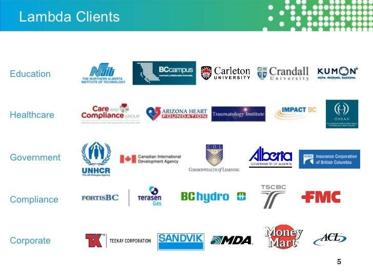 Lambda Clients Education Healthcare Government Compliance Corporate