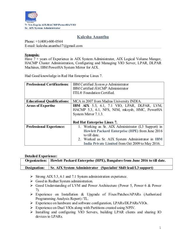 Updated Unix Resume 7yrs Kalesha