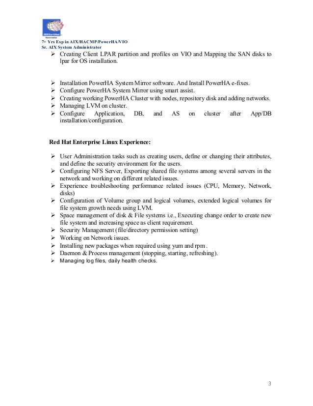 resume aix