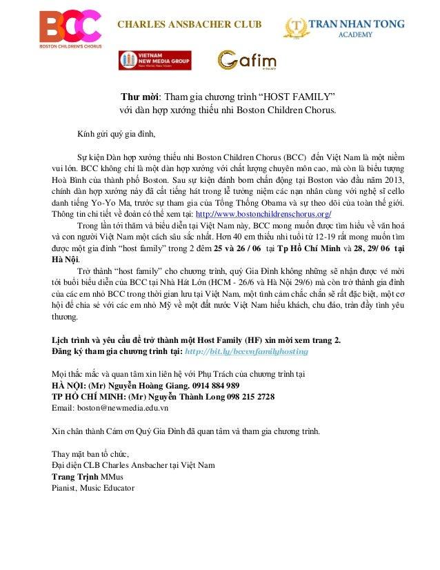 """CHARLES ANSBACHER CLUBThư mời: Tham gia chương trình """"HOST FAMILY""""với dàn hợp xướng thiếu nhi Boston Children Chorus.Kính ..."""