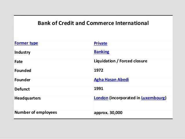 bank of credit and commerce international Other articles where bank of credit and commerce international is discussed:  united arab emirates: finance:worldwide operations of abū ẓaby's bank of.