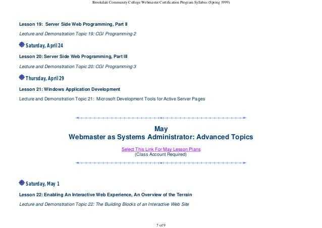 bcc webmaster certification program syllabus spring   7 brookdale community college webmaster certification program