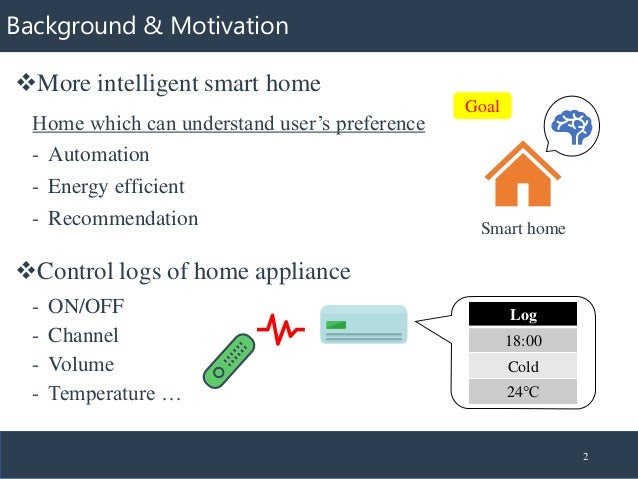 Background & Motivation ❖Control logs of home appliance 2 ❖More intelligent smart home Log 18:00 Cold 24℃ - ON/OFF - Chann...