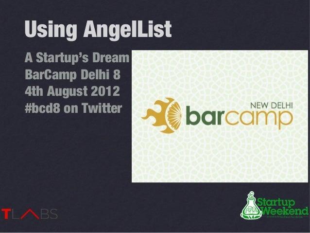 Using AngelListA Startup's DreamBarCamp Delhi 84th August 2012#bcd8 on Twitter