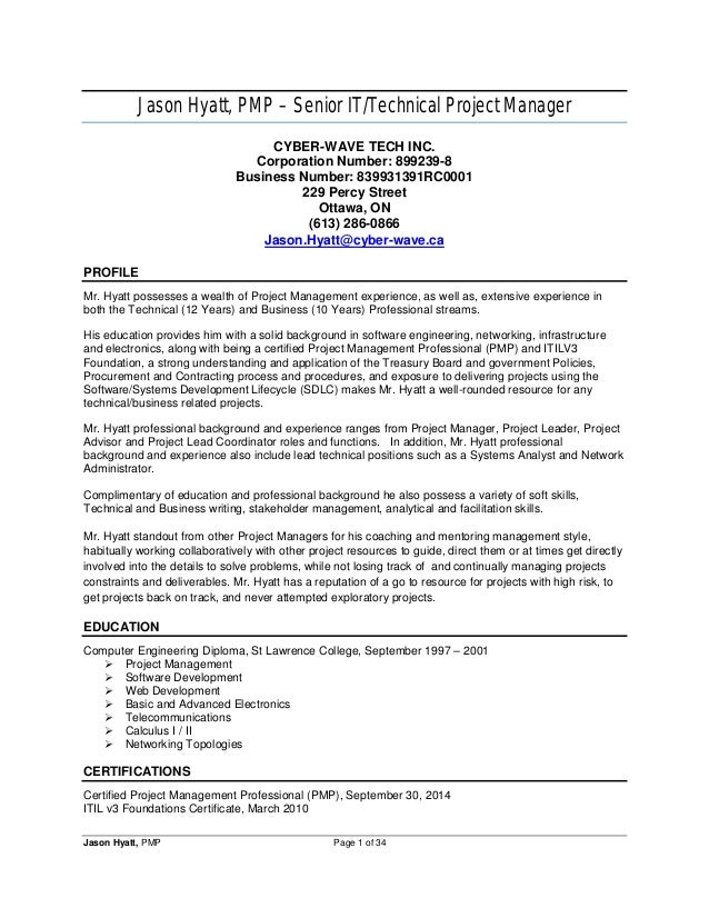jason hyatt pmp senior ittechnical project manager cyber wave tech inc - Sample Resume For Project Manager