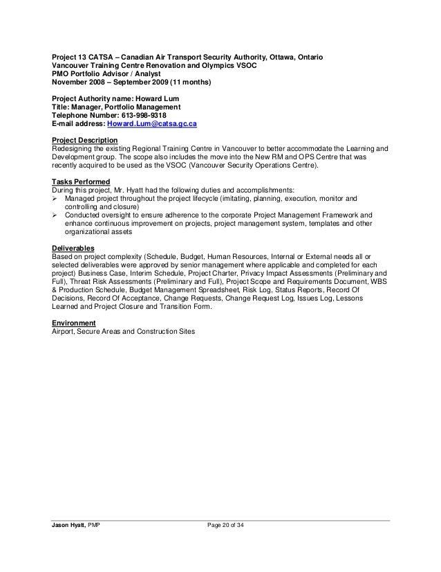 Jason Hyatt Pmp Resume Project Manager 2014 11 27