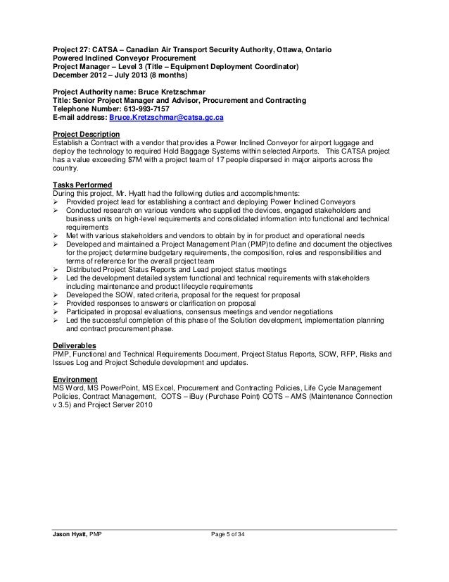 pmp certified project manager resumes