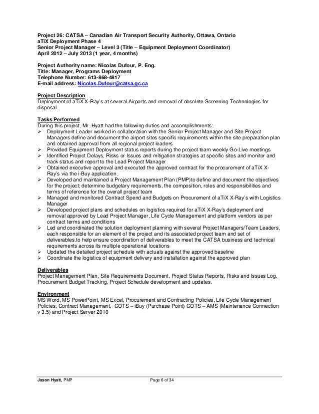 Sample Resume Resume Format For Project Manager Management Ideas Apr May