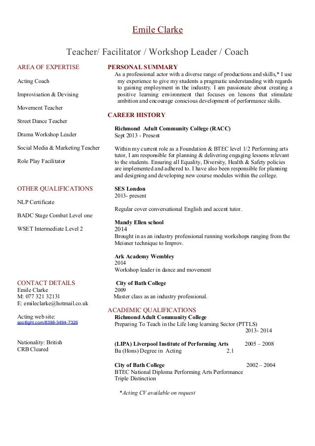 Dance Teacher Cv