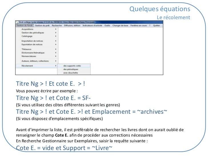 Quelques équations                                                                              Le récolementTitre Ng > ! ...