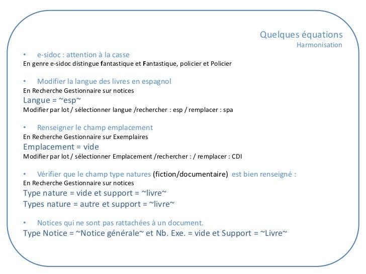 Quelques équations                                                                                     Harmonisation•   e-...