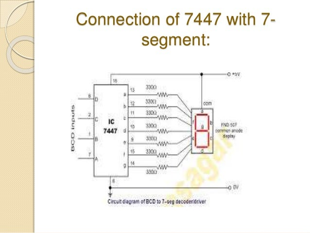 bcd to 7 segment displayconnection of 7447 with 7 segment