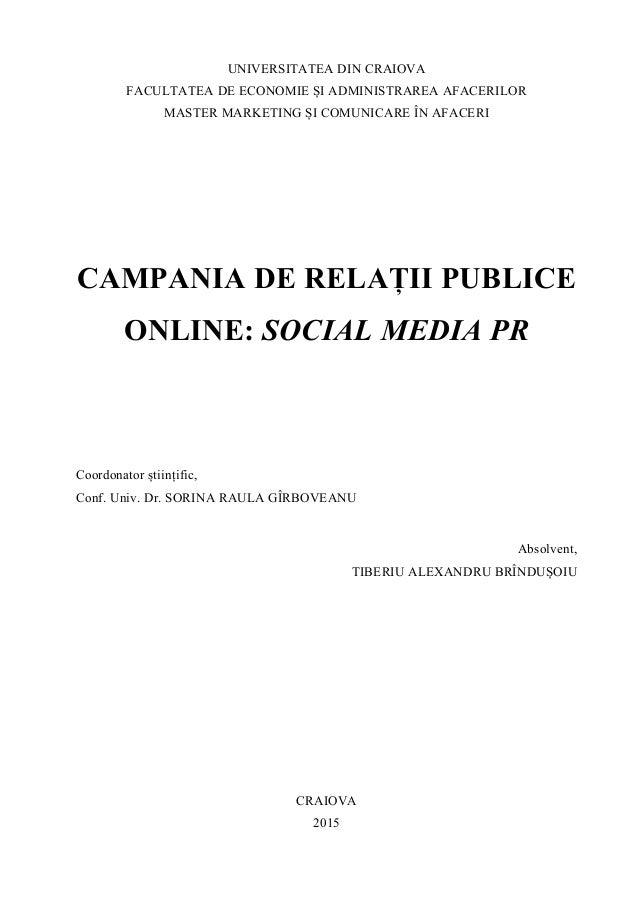 Campania de Relatii Publice Online - Disertatie 2015 Tiberiu