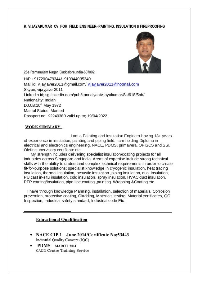 K Vijayakumar Cv For Field Engineer Painting Insulation Fireproofing