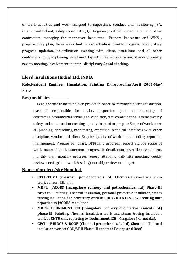 k vijayakumar cv for field engineer painting insulation fireproofing