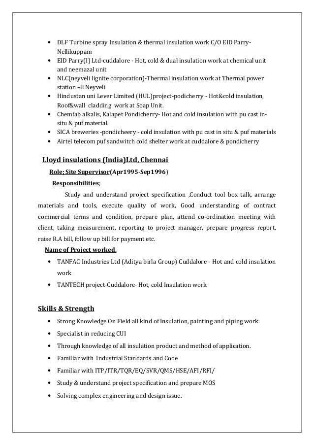 insulation 6 - Piping Field Engineer Sample Resume
