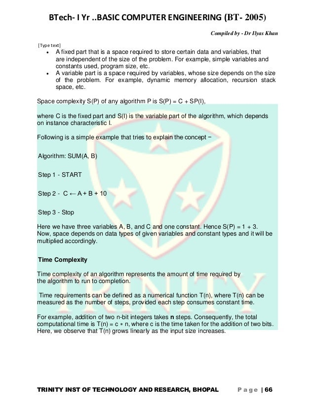 BCE NOTES RGPV - TRINITY INST OF TECH AND RESEARCH BHOPAL (RGTU)