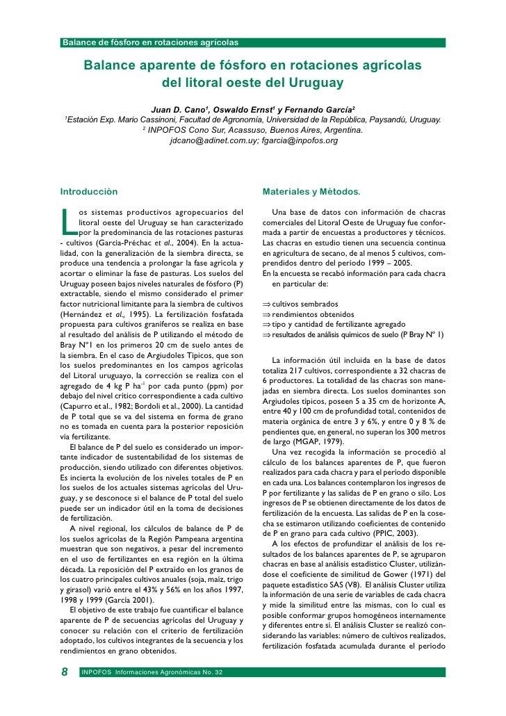 Balance de fósforo en rotaciones agrícolas       Balance aparente de fósforo en rotaciones agrícolas                  del ...