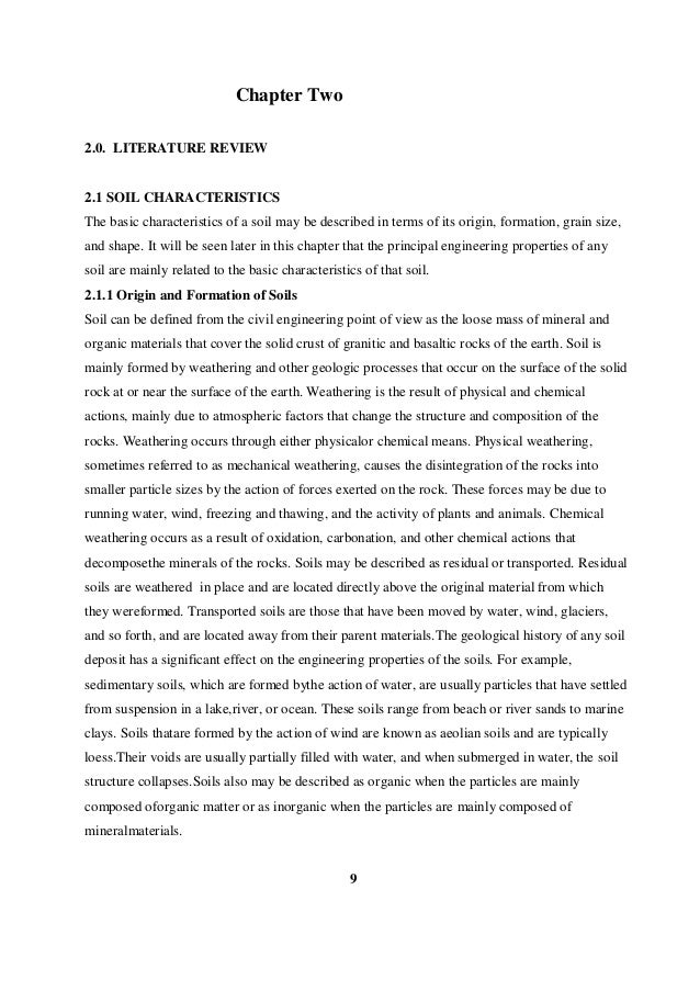Literature review of soil erosion