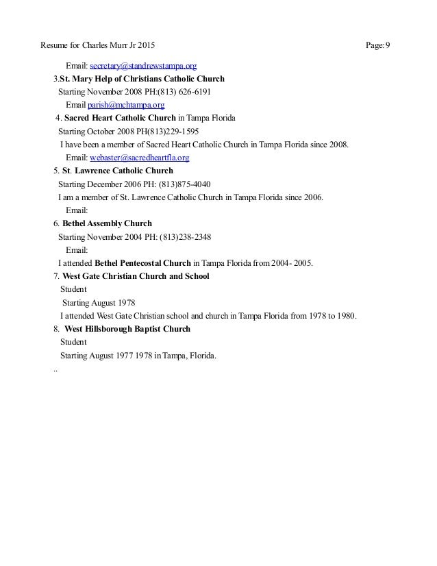 Updated Resume for Charles Murr Jr church list Buffalo April 2015