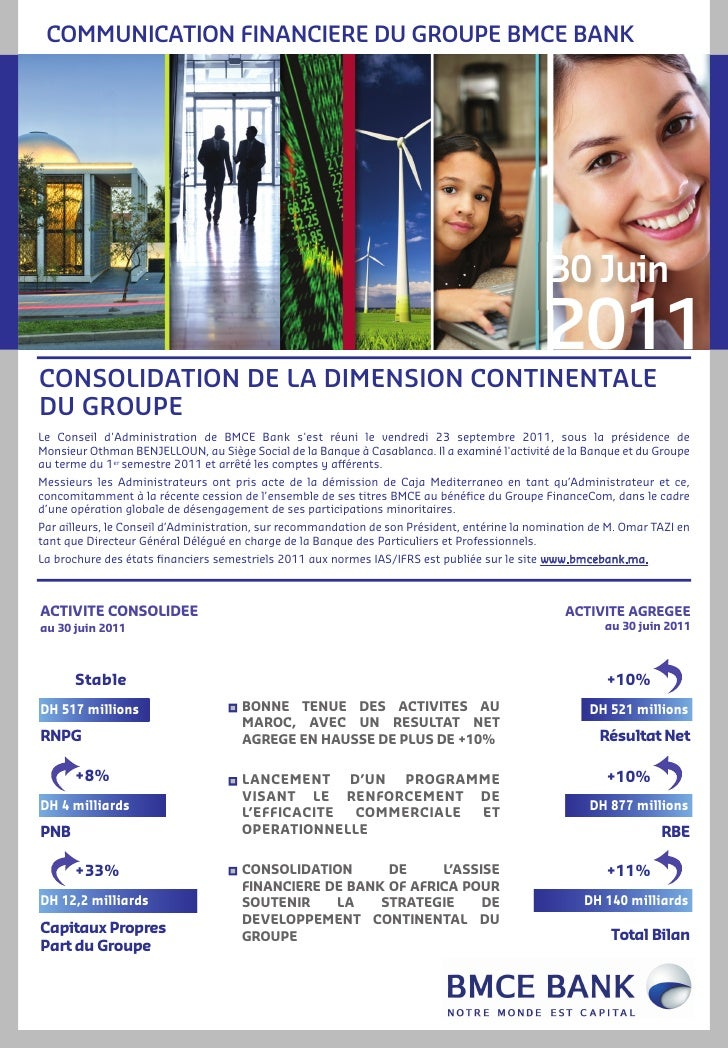 COMMUNICATION FINANCIERE DU GROUPE BMCE BANK                                                                              ...
