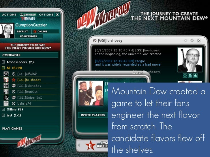 Mountain Dew created a game to let their fans engineer the next flavor from scratch. The candidate flavors flew off the sh...