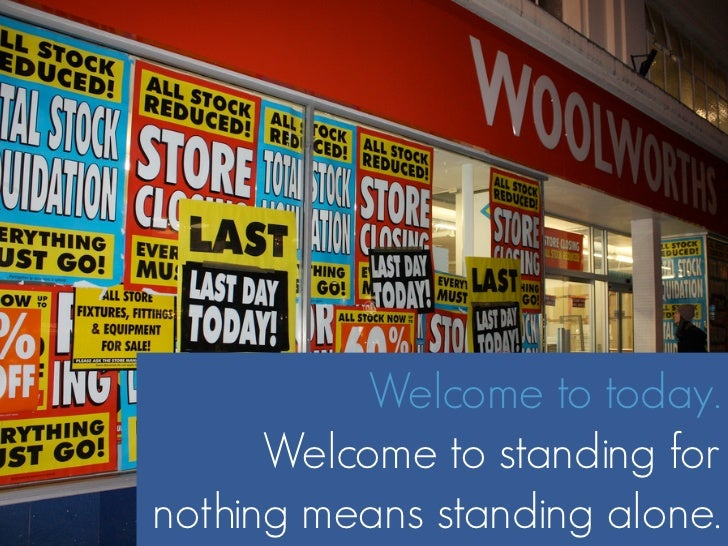 Welcome to today.       Welcome to standing for nothing means standing alone.