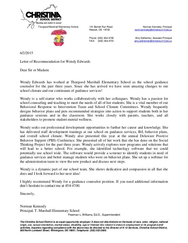 Principal Letter Of Recommendation For Wendy Edwards Assistant Position Sample