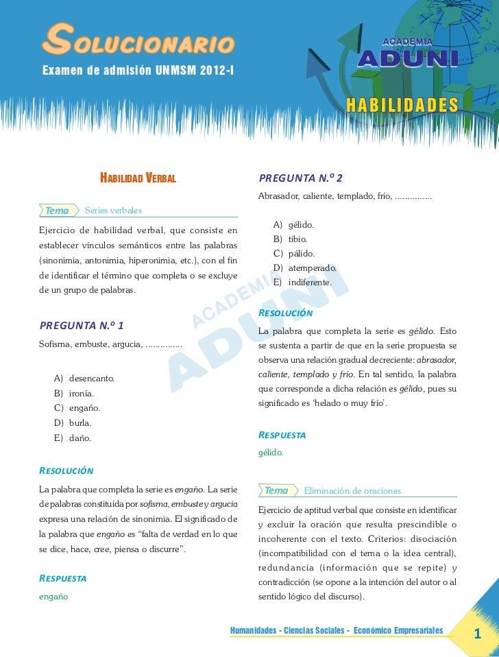 Solucionario    Examen de admisión UNMSM 2012-I                                                                           ...