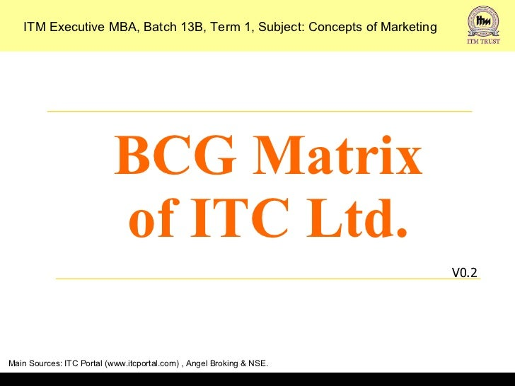 BCG Matrix of ITC Ltd. V0.2 ITM Executive MBA, Batch 13B, Term 1, Subject: Concepts of Marketing Main Sources: ITC Portal ...