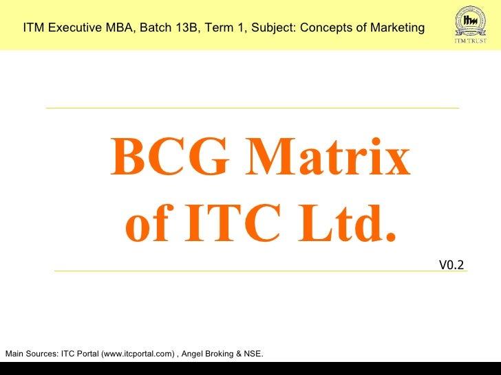 ITM Executive MBA, Batch 13B, Term 1, Subject: Concepts of Marketing                           BCG Matrix                 ...