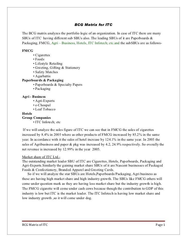BCG,GE matrix for ITC & Bajaj auto