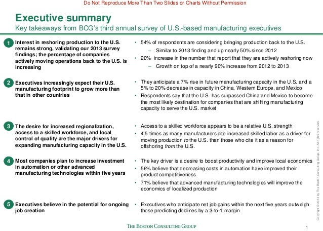 riordan manufacturing executive report Scope improving riordan inventory and manufacturing business processes for  the following plants:  you all have received a copy of the executive summary.