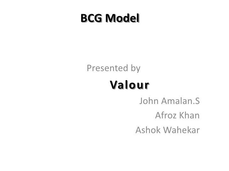 BCG Model<br />Presented by<br />Valour<br />John Amalan.S<br />Afroz Khan<br />Ashok Wahekar<br />