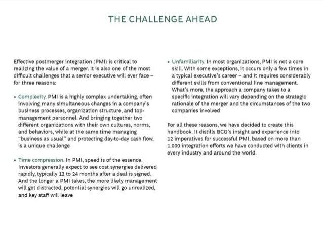 BCG on Postmerger Integration: A handbook for senior executives Slide 3