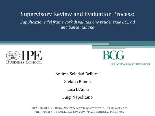 Supervisory Review and Evaluation Process: Andrea Soledad Bellucci Stefano Buono Luca D'Anna Luigi Napolitano MFA - MASTER...