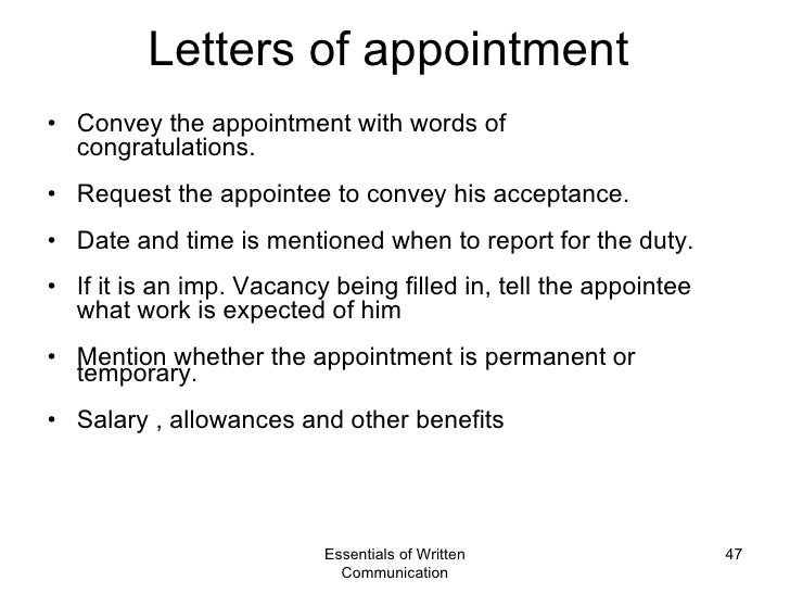 Business Appointment Letters Sample Business Appointment Letters