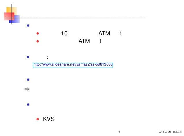 スケールアウト 問い いつも 10 人並んでる ATM が 1 台あります ここで新たに ATM を 1 台足すと行列の人数は どうなるでしょう? 参考 : 山崎大輔さん「スケールアウト再考」 http://www.slideshare.net...
