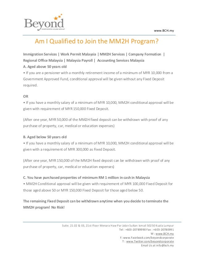 www.BCH.my       Am I Qualified to Join the MM2H Program?Immigration Services | Work Permit Malaysia | MM2H Services | Com...