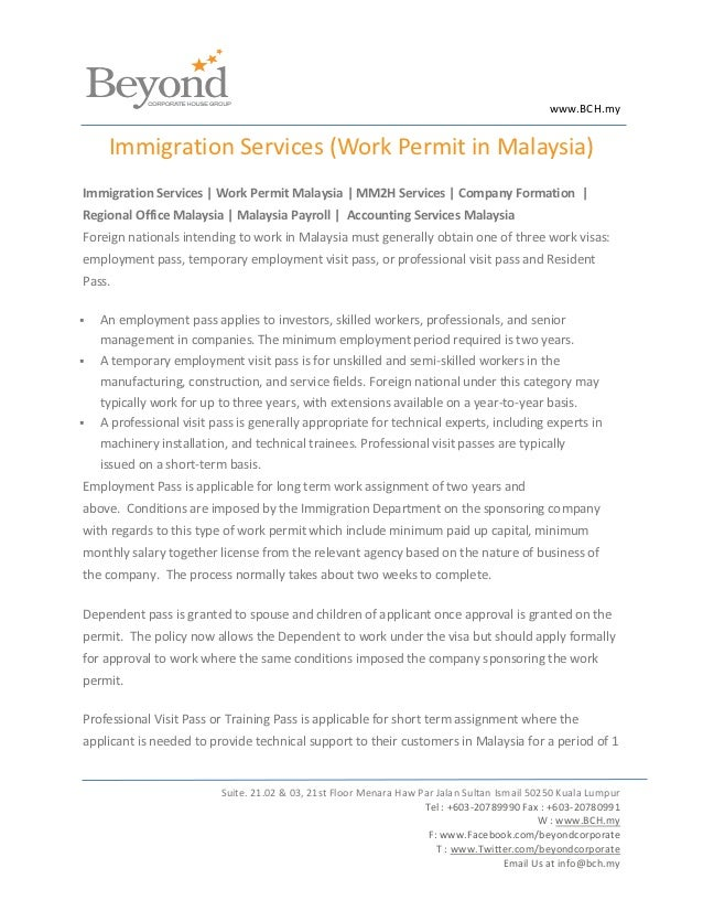 www.BCH.my     Immigration Services (Work Permit in Malaysia)Immigration Services | Work Permit Malaysia | MM2H Services |...