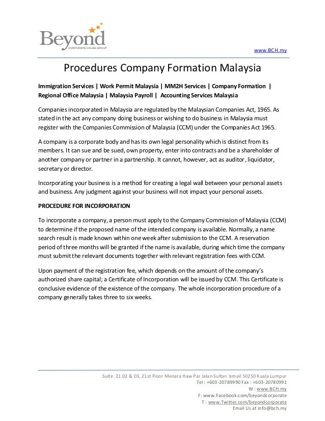 www.BCH.my          Procedures Company Formation MalaysiaImmigration Services | Work Permit Malaysia | MM2H Services | Com...
